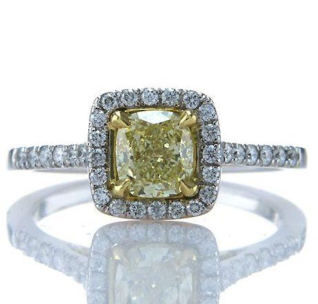 Fancy Yellow Cushion 0.91ct Diamond Ring Brian Gavin
