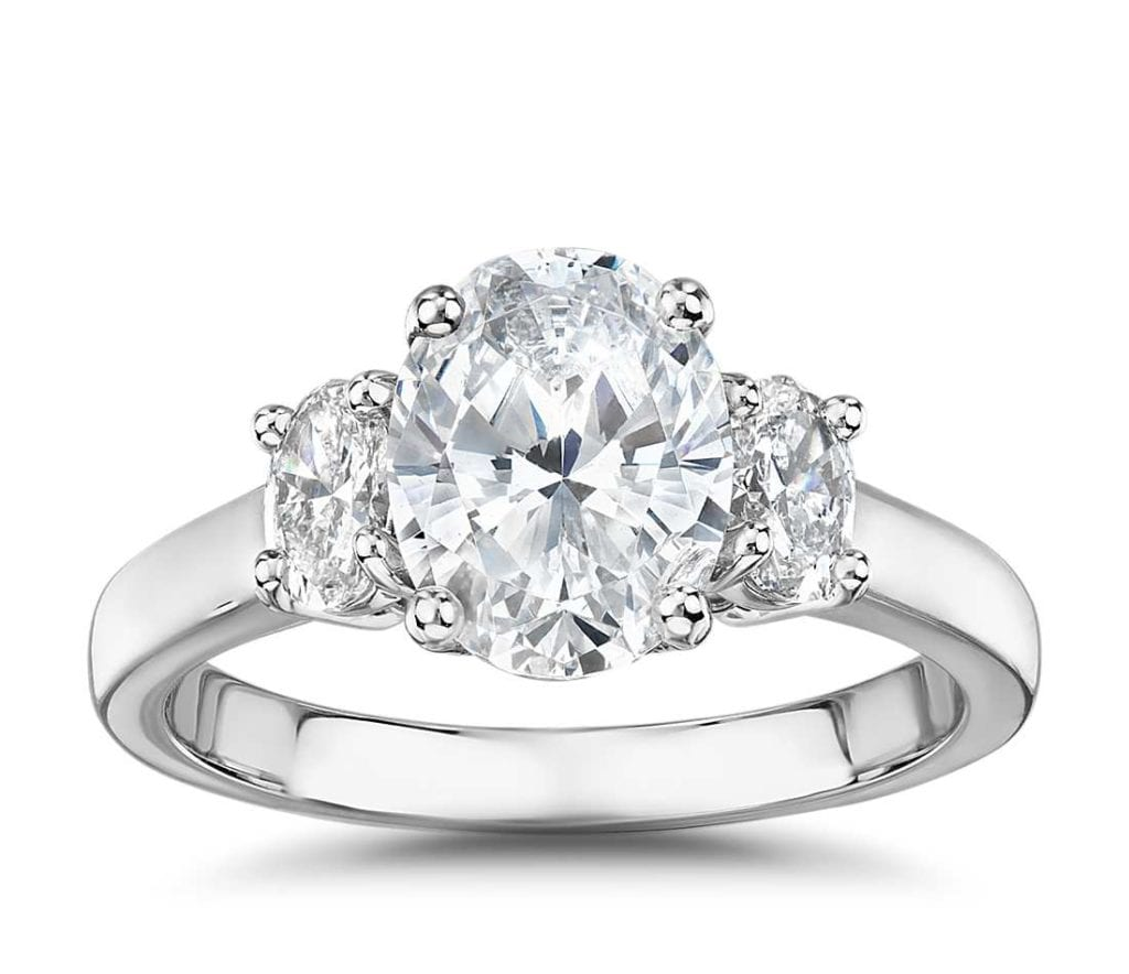 The Gallery Collection™ Oval-Cut Three-Stone Diamond Engagement Ring Blue Nile