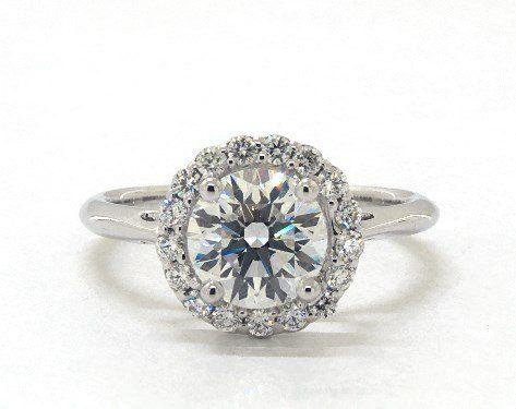 Lab-Created 1.30 carat Round cut Halo engagement ring IN 14K White Gold James Allen
