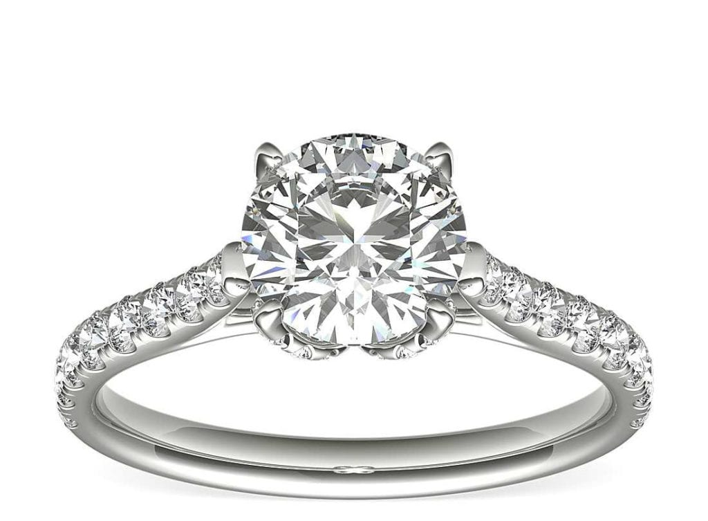 Monique Lhuillier Petal Pavé Diamond Cathedral Engagement Ring in Platinum Blue Nile