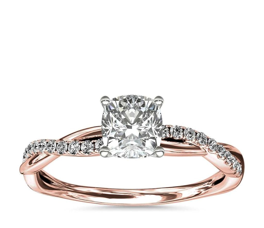 Petite Twist Diamond Engagement Ring in 14k Rose Gold  Blue Nile