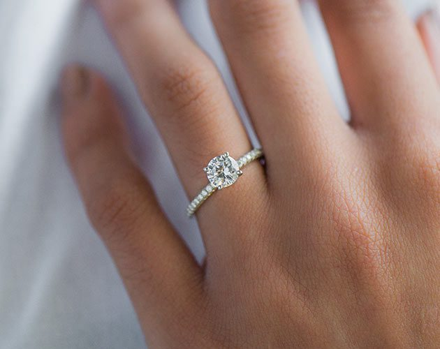 Platinum Petite Pave Engagement Ring (Flush Fit)
