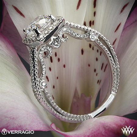 Platinum Verragio INS-7061CU Beaded Halo Diamond Engagement Ring White Flash