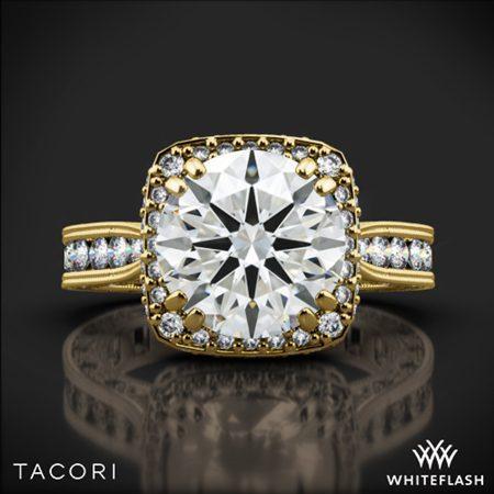 18k Yellow Gold Tacori HT2607RD8 RoyalT Cushion-Style Bloom Diamond Engagement Ring for 2ct Center WhiteFlash