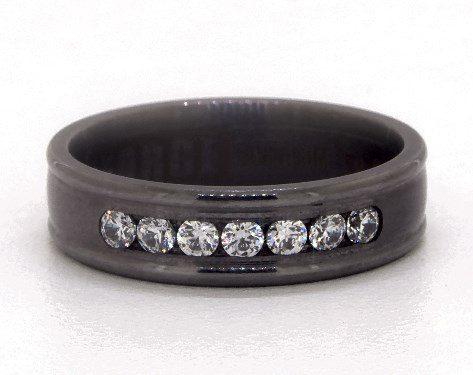 Tantalum 6mm Channel Set Diamond Comfort Fit Ring
