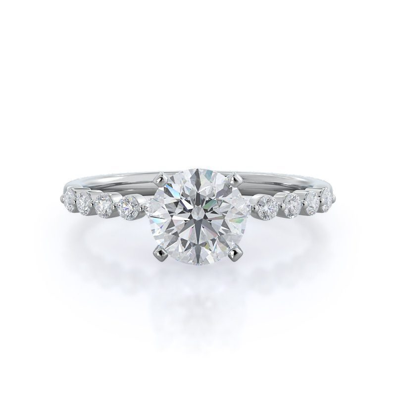 Under Bezeled Accent Diamond Engagement Ring With Clarity