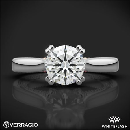 18k White Gold Verragio ENG-0418R-2T Couture Solitaire Engagement Ring White Flash
