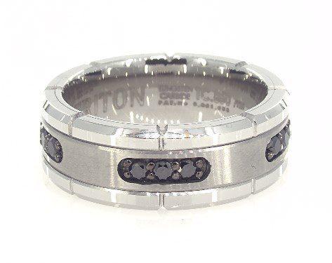 White Tungsten Carbide 8MM Black Diamond Band by TRITON James Allen