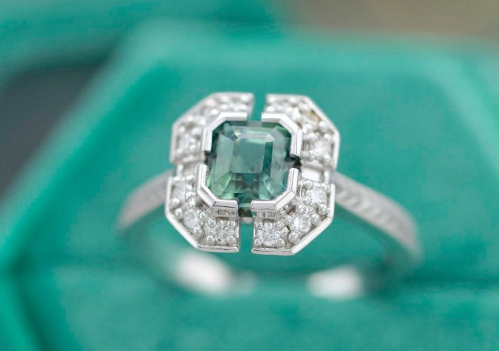 clipped corner square sapphire and diamond engagement ring