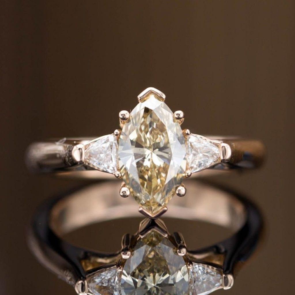 marquise cut brown diamond