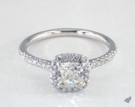 0.90 carat Cushion cut Halo engagement ring IN 14K White Gold James Allen