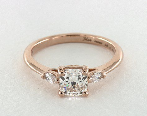 1.00 carat Cushion Modified cut Three Stone engagement ring IN 14K Rose Gold James Allen