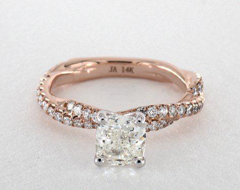 1.01 carat Cushion cut Pave engagement ring IN 14K Rose Gold James Allen