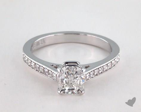 1.01 carat Cushion cut Pave engagement ring IN 18K White Gold