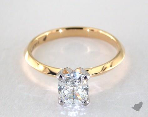 1.00 carat Cushion cut Solitaire engagement ring IN 18K Yellow Gold James Allen