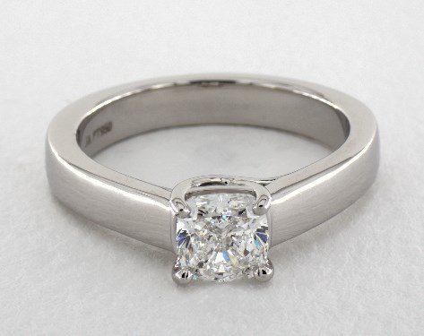 1.00 carat Cushion cut Solitaire engagement ring IN Platinum James Allen