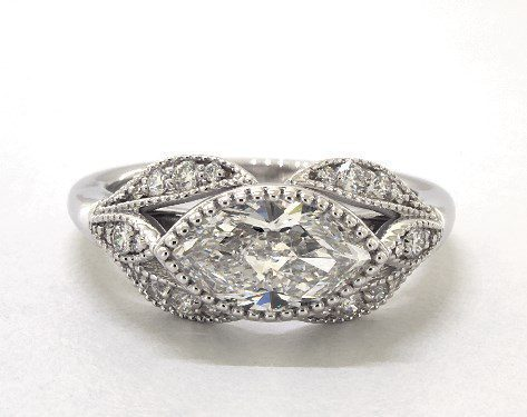1.01 carat Marquise cut Vintage engagement ring IN 14K White Gold James Allen