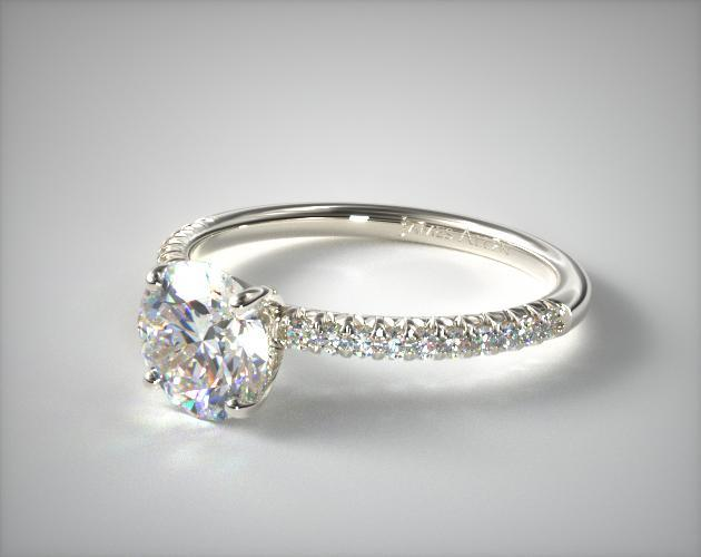 14K White Gold Petite Pave Engagement Ring james Allen