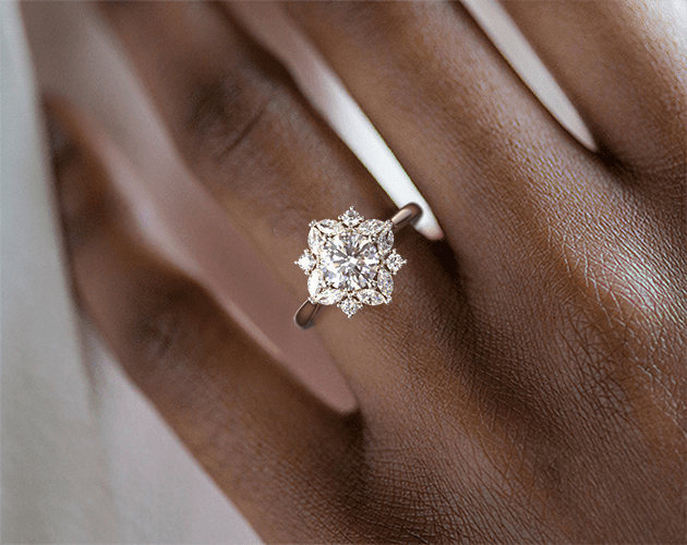 14k White Gold Marquise Cluster Halo Diamond Engagement Ring with a 1.01ct Center from James Allen