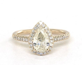 1.00 Carat Pear Shaped 14K Yellow Gold Halo Engagement Ring from James Allen
