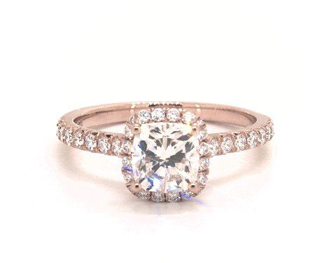 1.01 carat Cushion Modified cut Halo engagement ring IN 14K Rose Gold James Allen