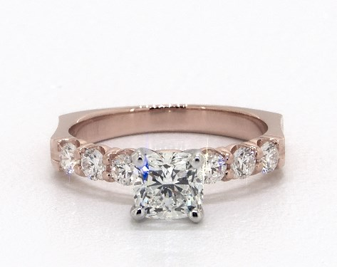 1.01 carat Cushion Modified cut Side stones engagement ring IN 14K Rose Gold James Allen