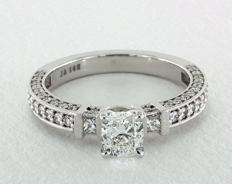 1.01 carat Cushion cut Pave engagement ring IN 14K White Gold James Allen