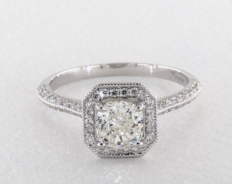 1.20 carat Cushion Modified cut Halo engagement ring IN 14K White Gold James Allen