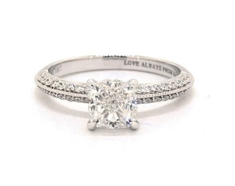 1.20 carat Cushion Modified cut Pave engagement ring IN 14K White Gold James Allen