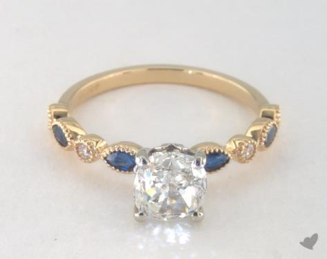 1.71 carat Cushion cut Side stones engagement ring IN 14K Yellow Gold