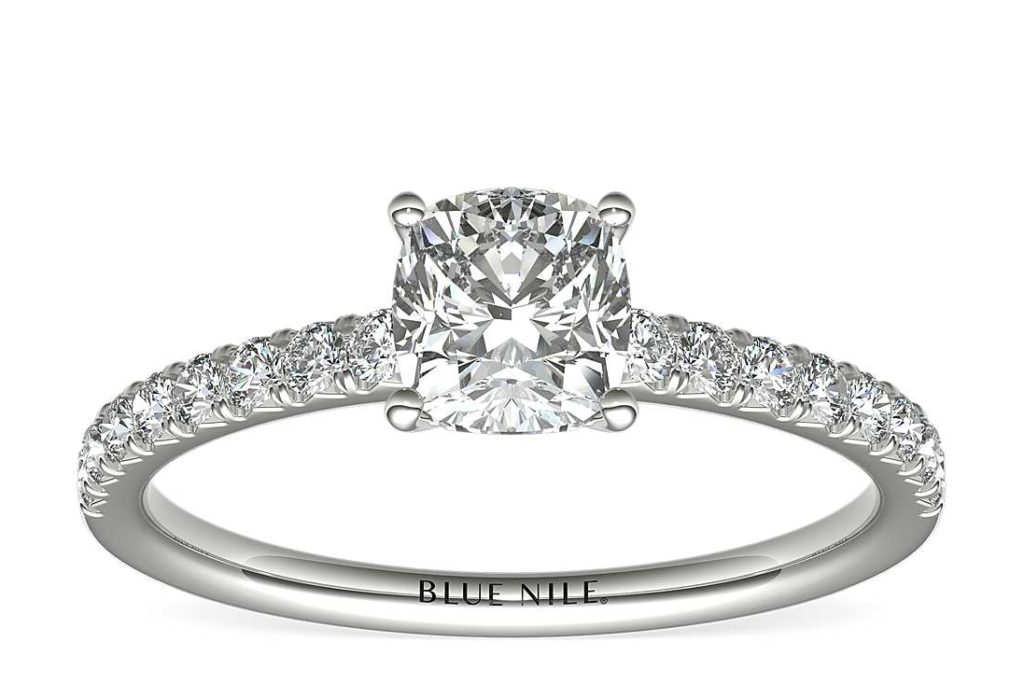 French Pavé Diamond Engagement Ring in Platinum (1/4 ct. tw.) Blue Nile