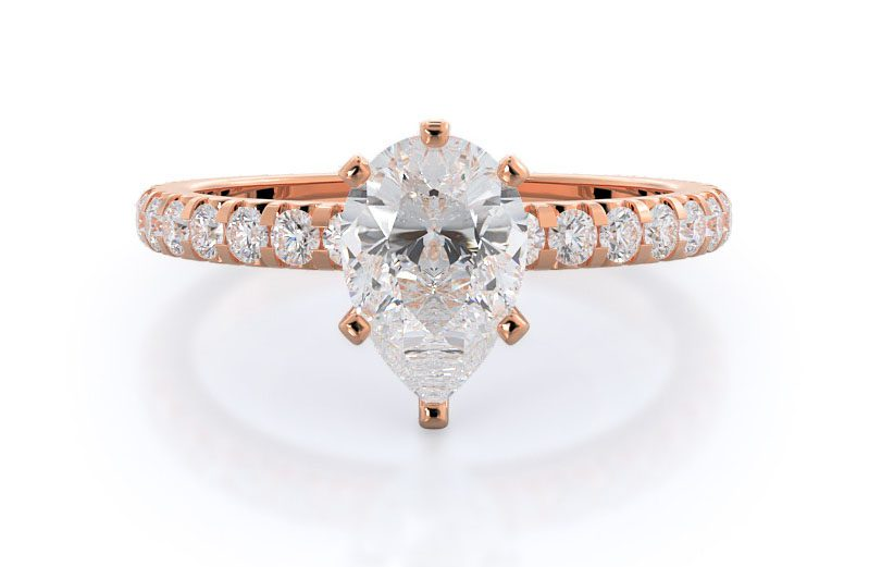 FFrench Set Pave Diamond Engagement Ring With Clarity