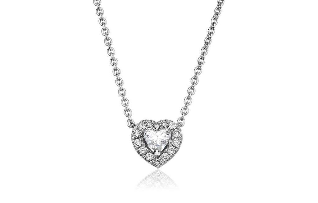 Heart-Shaped Diamond Halo Pendant in 14k White Gold (1/4 ct. tw.) Blue Nile