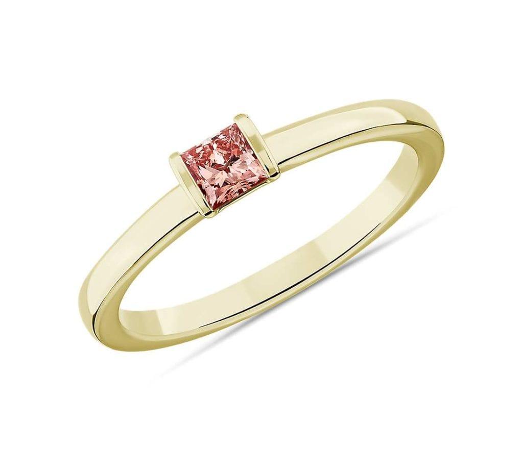 LIGHTBOX Lab-Grown Pink Diamond Princess Stackable Ring Blue Nile