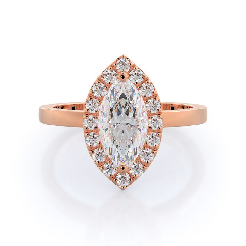 Marquise Plain Shank Halo Diamond Engagement Ring With Clarity