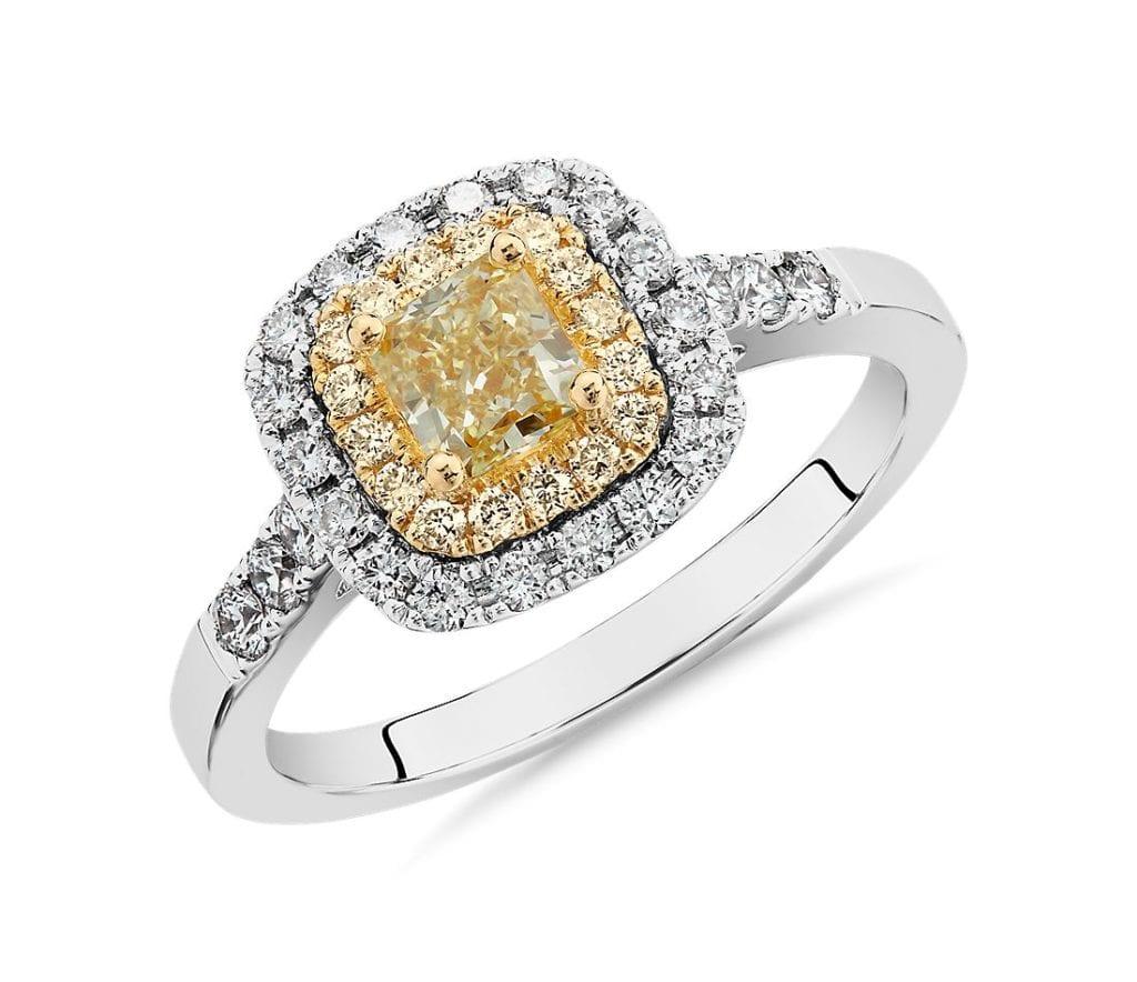 Yellow Cushion-Cut Diamond Halo Ring Blue Nile