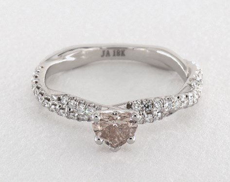 0.36 carat Heart shaped Pave engagement ring IN 18K White Gold James Allen
