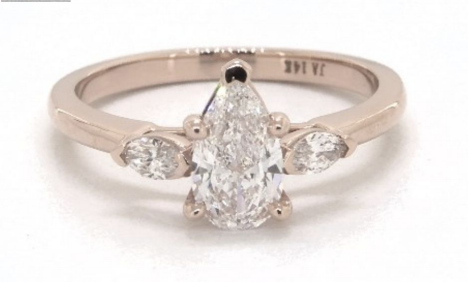 0.61 Carat Rose Gold Three Stone Engagement Ring from James Allen