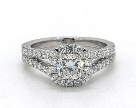 0.70 carat Cushion Modified cut Halo engagement ring IN Platinum James Allen