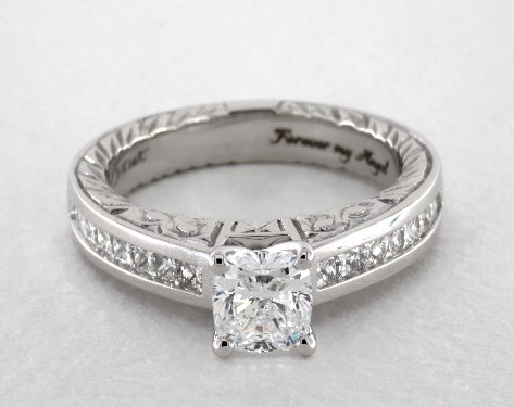 0.82 carat Cushion Modified cut Channel Set engagement ring IN 14K White Gold James Allen