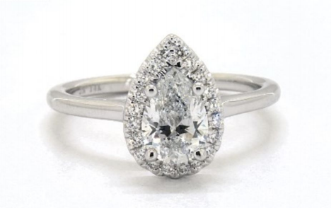 91 Carat Total Weight 14K White Gold Halo Engagement Ring James Allen