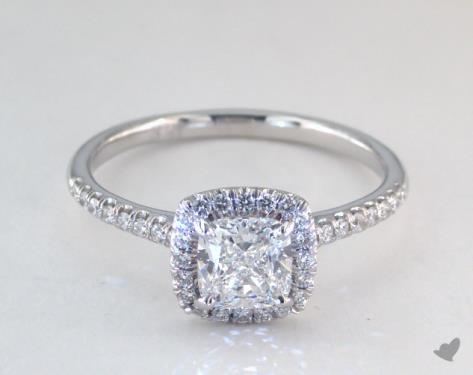 0.95 carat Cushion cut Halo engagement ring IN 14K White Gold James Allen