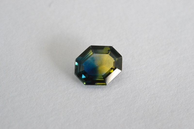 shield-cut parti sapphire