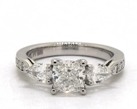 1.00 carat Cushion Modified cut Three Stone engagement ring in Platinum James Allen