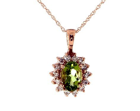 14K Rose Gold Oval Halo Peridot and Diamond Necklace (7.0x5.0mm) James Allen