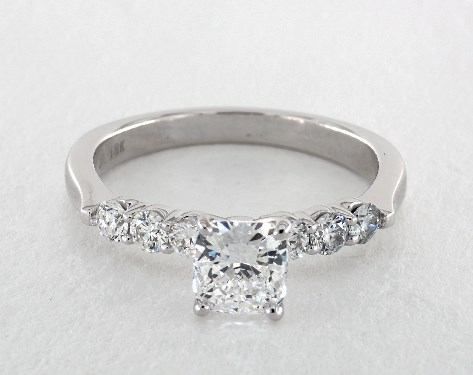1.03 carat Cushion cut Side stones engagement ring in 18K White Gold James Allen