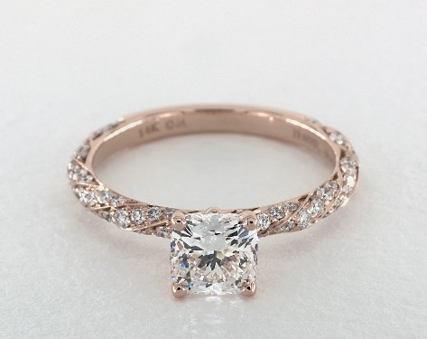 1.07 carat Cushion Modified cut Pave engagement ring in 14K Rose Gold James Allen