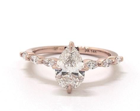 1.07 carat Pear shaped Side stones engagement ring IN 14K Rose Gold James Allen