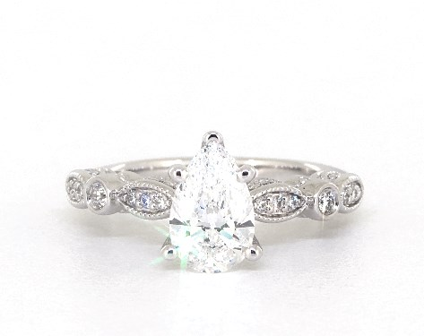 Engagement Ring Total carat weight: 1.25 1.09 carat Pear shaped Vintage engagement ring in 14K White Gold James Allen