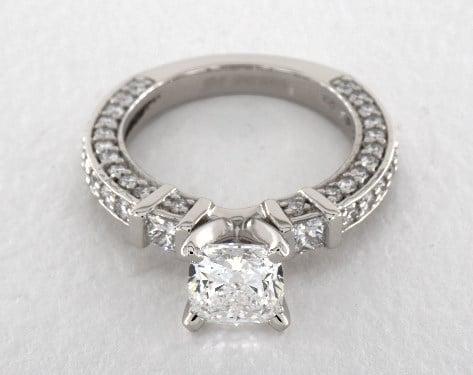 1.14 carat Cushion Modified cut Pave engagement ring in Platinum James Allen